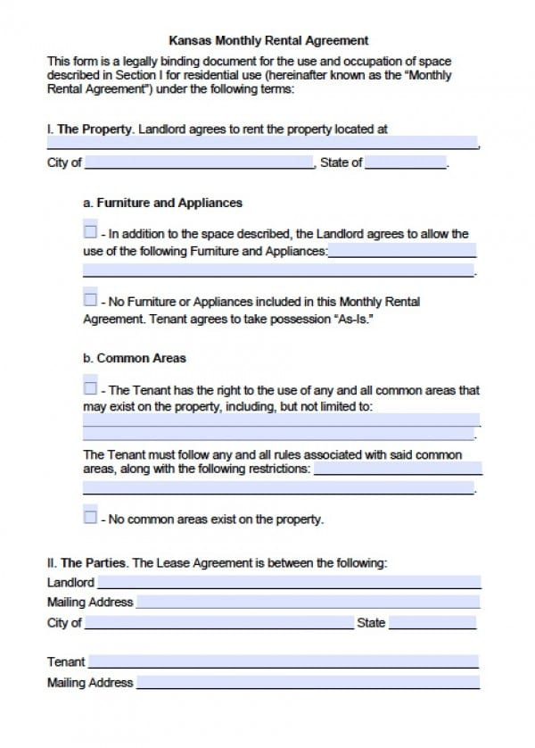 Free Kansas Month to Month Lease Agreement PDF Word (doc) - rental contract agreement