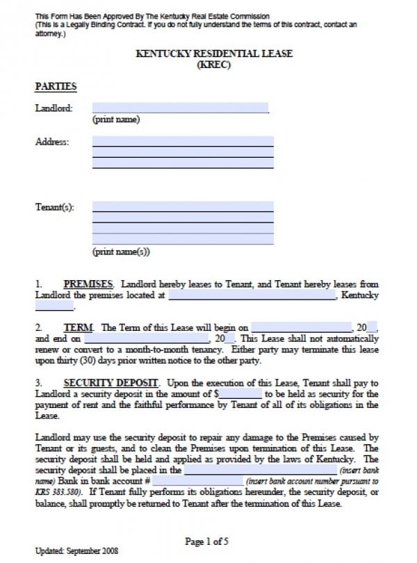 Free Kentucky Residential Lease Agreement PDF Word (doc)