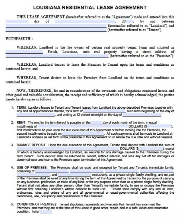 Free Louisiana 1 Year Residential Lease Agreement Standard - free standard lease agreement