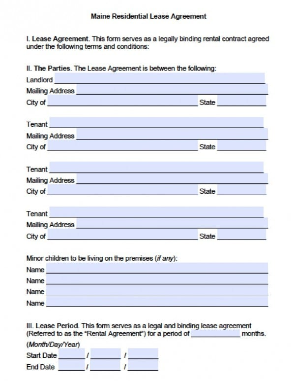 Free Maine Residential Lease Agreement PDF Word (doc)