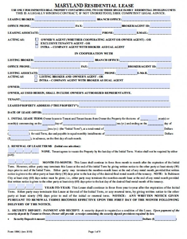 Free Maryland Residential Lease Agreement PDF Word (doc)