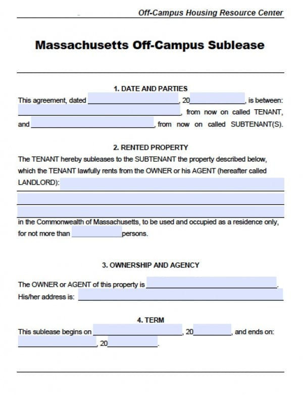 Free Massachusetts SubLease Agreements PDF Word (doc)