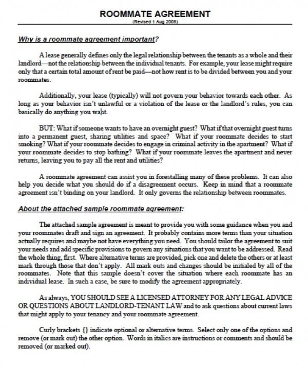 Free Massachusetts SubLease Agreements PDF Word (doc) - roommate rental agreement