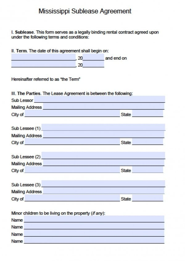 Free Mississippi Sub-Lease Agreement PDF Word (doc) - sample commercial lease agreement