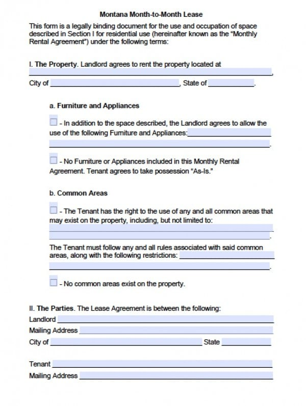 Free Montana Month-to-Month Lease Agreement PDF Word (doc)