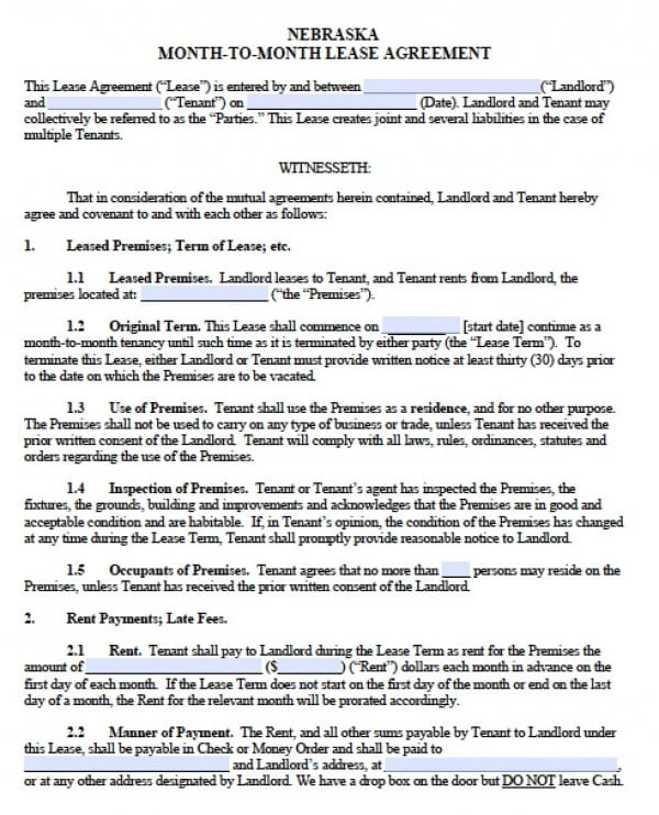 Free Nebraska Month-to-Month Lease Agreement PDF Word (doc) - month to month lease agreements
