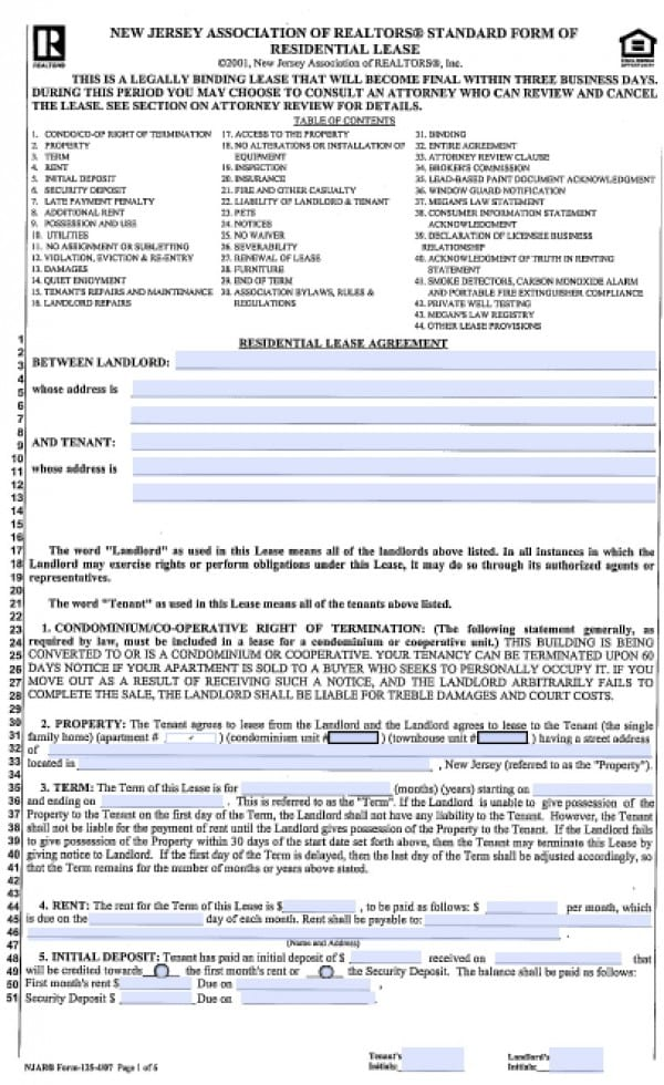 Free New Jersey Standard Residential Lease Agreement (1 Year) PDF