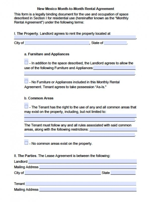 Free New Mexico Month-to-Month Lease Agreement PDF Word (doc) - lease agreement in pdf