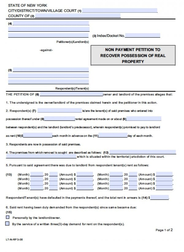 Free New York NonPayment of Rent Eviction Form Petition Demand