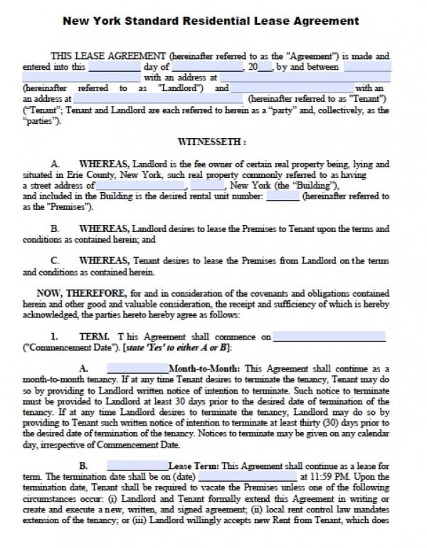 Free New York Residential Lease Agreement PDF Word (doc)