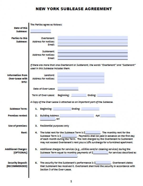 Free New York Sub-Lease Roommate Agreement PDF Word (doc) - basic sublet agreement