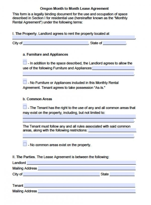 Free Oregon Month-to-Month Lease Agreement PDF Word (doc)