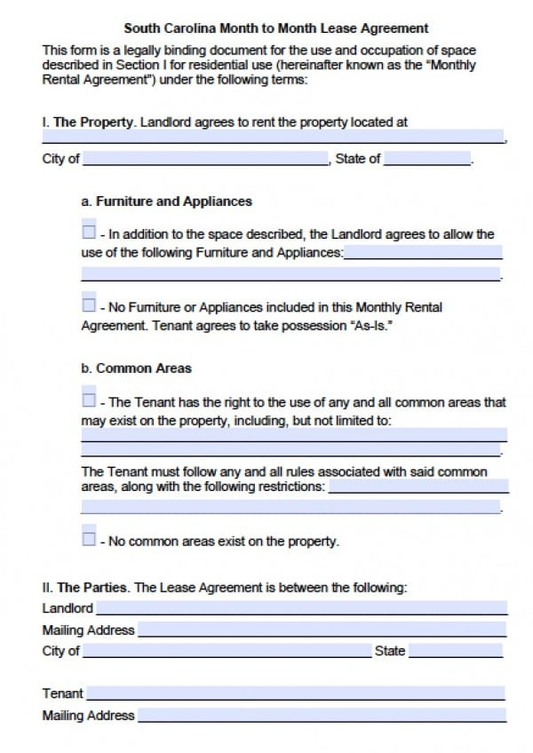 Free South Carolina Month to Month Rental Agreement PDF Word (doc) - renters agreement