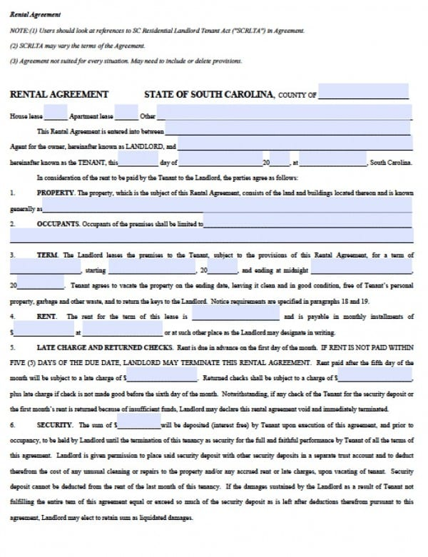 Free South Carolina Residential Lease Agreement PDF Word (doc)