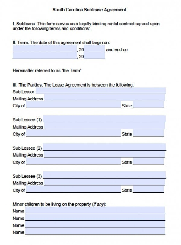 Free South Carolina SubLease (Roommate) Agreement PDF Word (doc) - roommate rental agreement