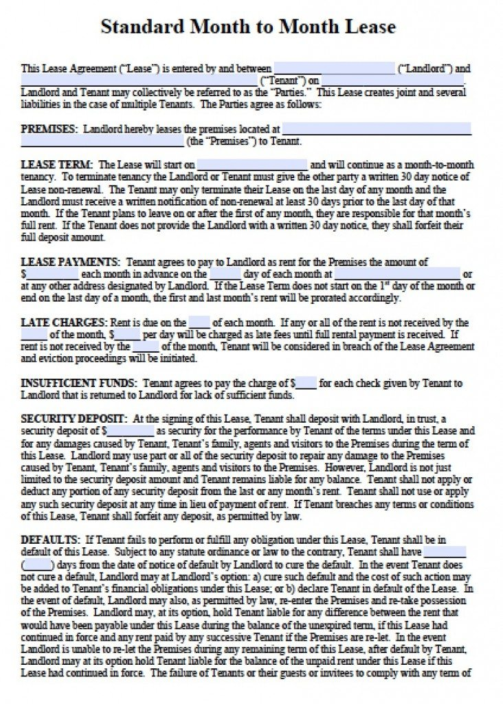 Free Month to Month Rental Lease Agreement Templates PDF Word