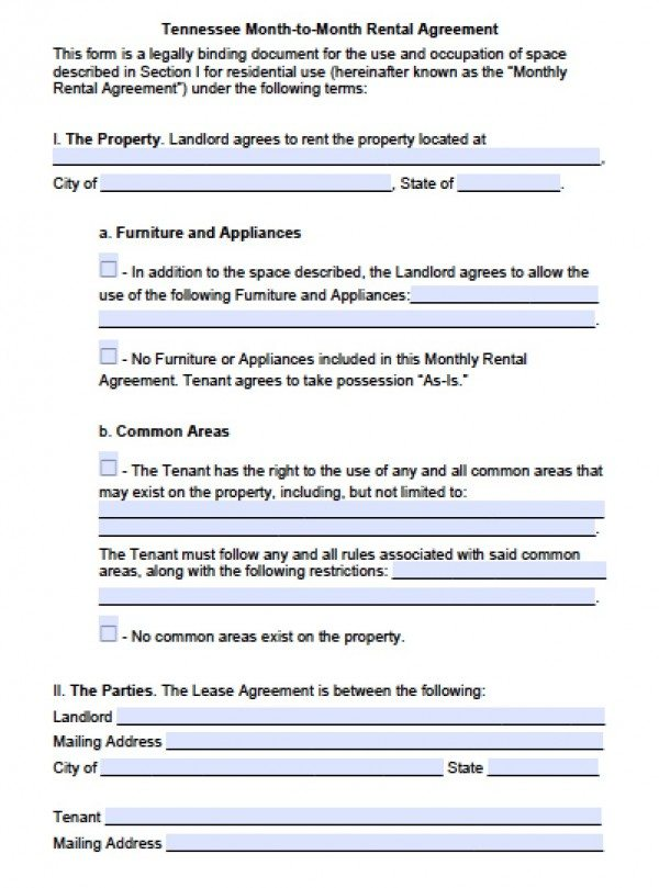 Free Tennessee Month-to-Month Lease Agreement PDF Word (doc) - lease agreement