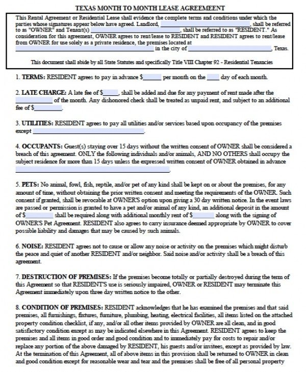 Free Texas Month-to-Month Lease Agreement PDF Word (doc) - month to month lease agreement example