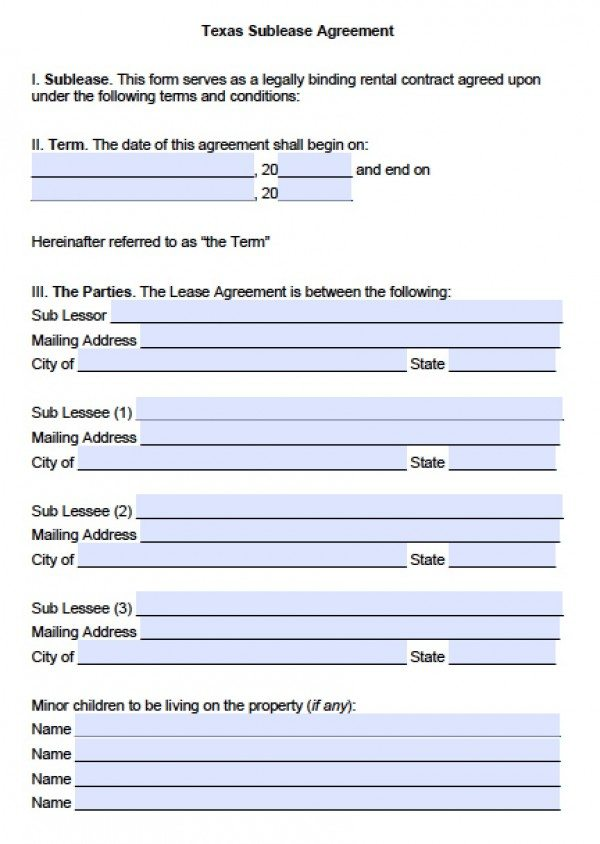 Free Texas Sub-Lease Agreement PDF Word (doc)
