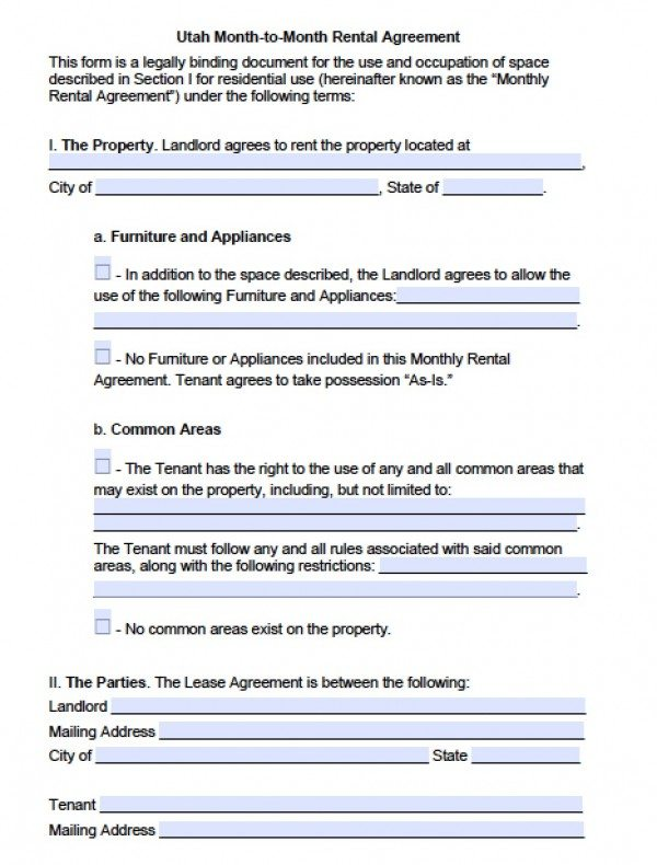 Free Utah Month to Month Lease Agreement PDF Word (doc) - month to month lease agreement example