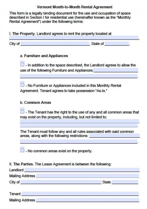 Free Vermont Month-to-Month Lease Agreement PDF Word (doc)