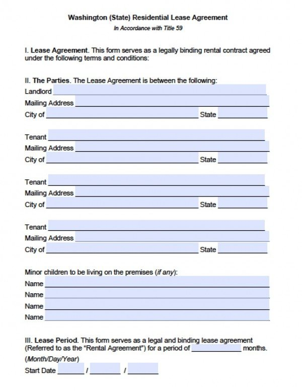 Free Washington Residential Lease Agreement PDF Word (doc) - standard lease agreement template