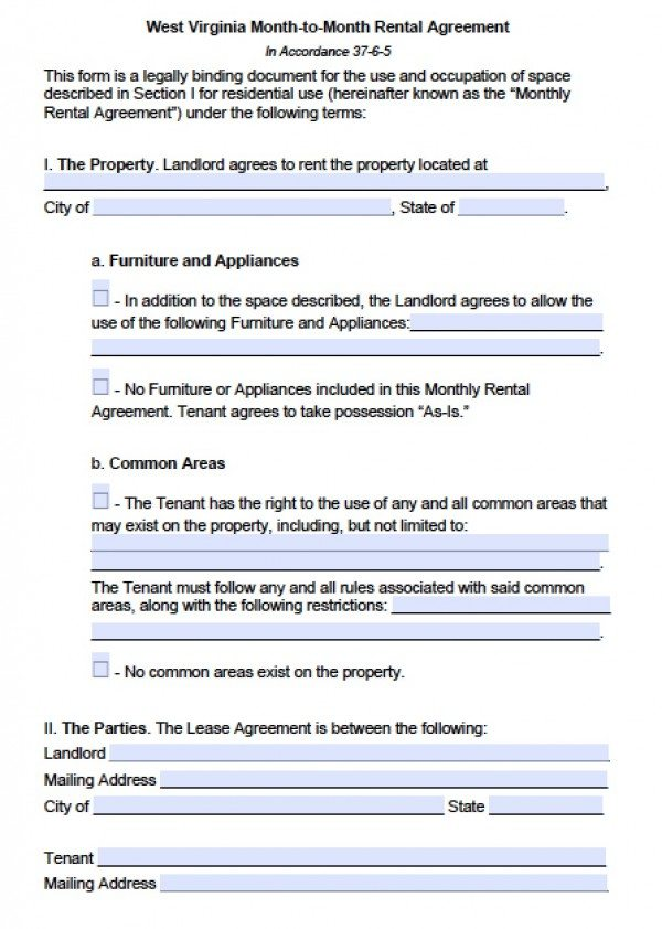 Free West Virginia Month-to-Month Lease Agreement PDF Word (doc)