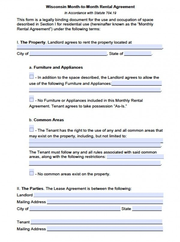 Free Wisconsin Month-to-Month Lease Agreement PDF Word (doc) - rental agreement