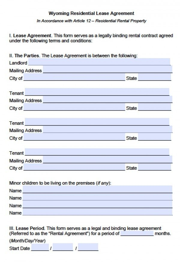 Free Wyoming Residential Lease Agreement PDF Word (doc) - rental contract agreement