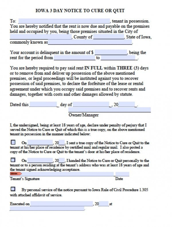 Free Iowa 3 Day Eviction Notice Late Rent Notice to Quit PDF - copy of an eviction notice