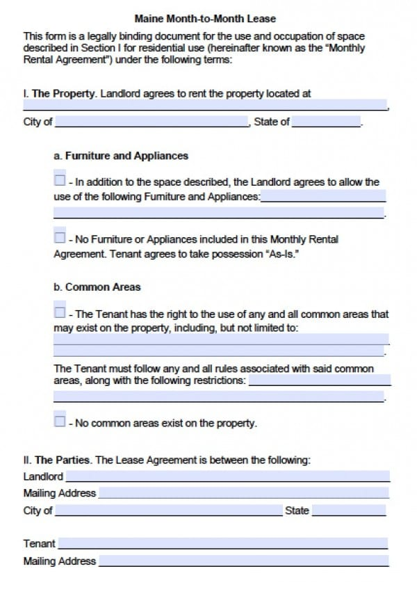 Free Maine Month-to-Month Lease Agreement PDF Word (doc) - microsoft word rental agreement template