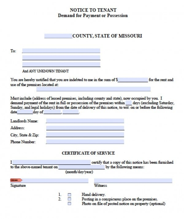 Free Missouri Notice to Quit Eviction Notice for Non-Payment - copy of an eviction notice