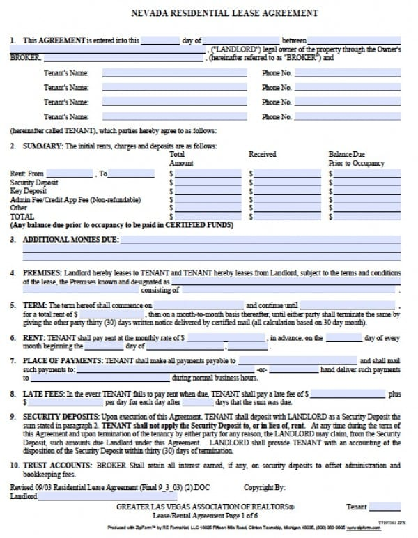 Free Nevada Residential Lease Agreement PDF Word (doc) - free residential lease template
