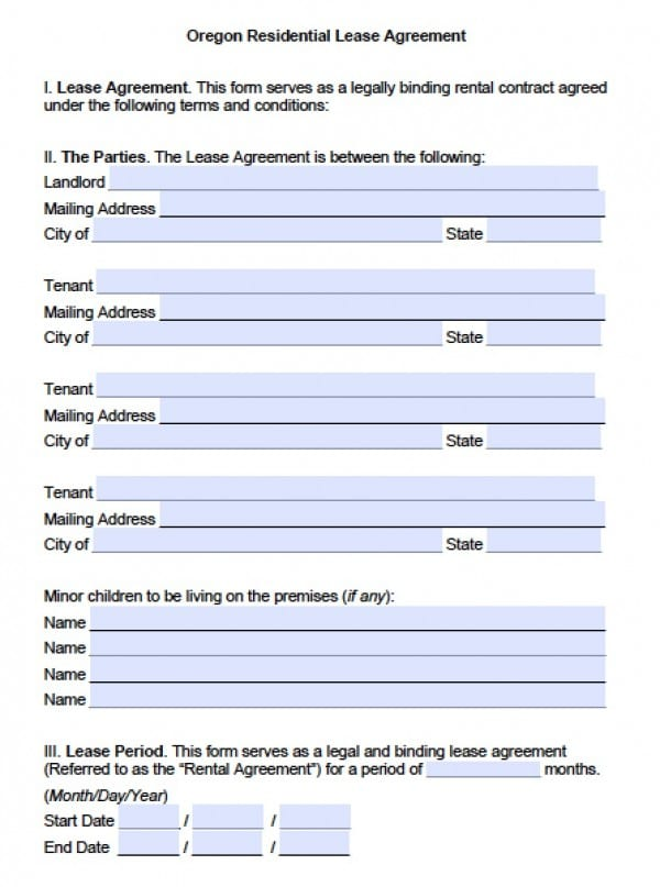 Free Oregon Residential Lease Agreement PDF Word (doc) - free tenant agreement