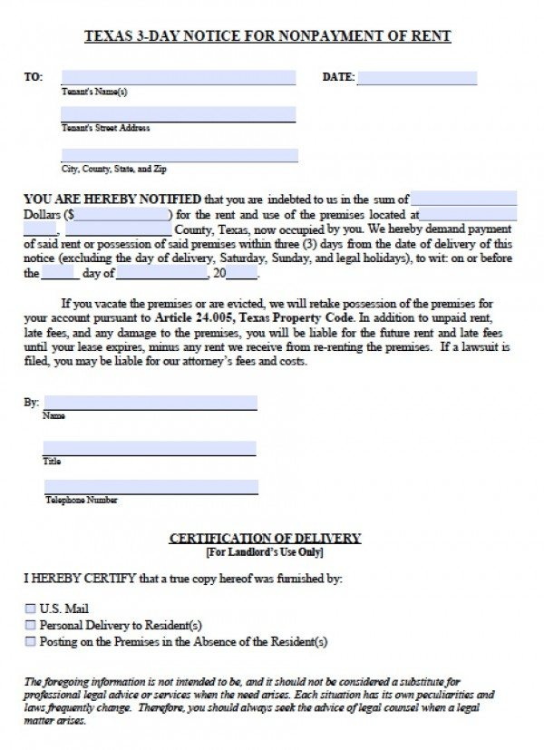 Free Texas Three (3) Day Notice to Quit NonPayment of Rent PDF - copy of an eviction notice