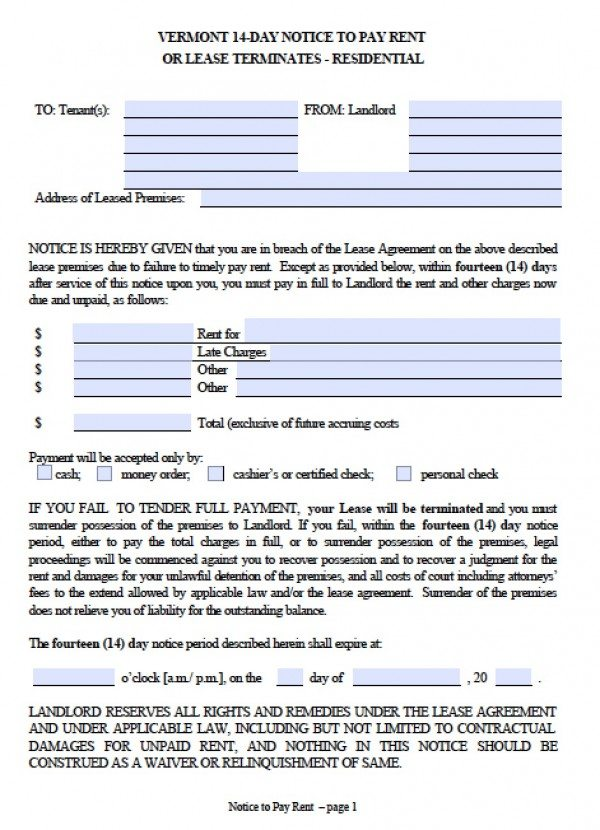 Free Vermont Fourteen (14) Day Notice to Pay Rent Eviction - copy of an eviction notice