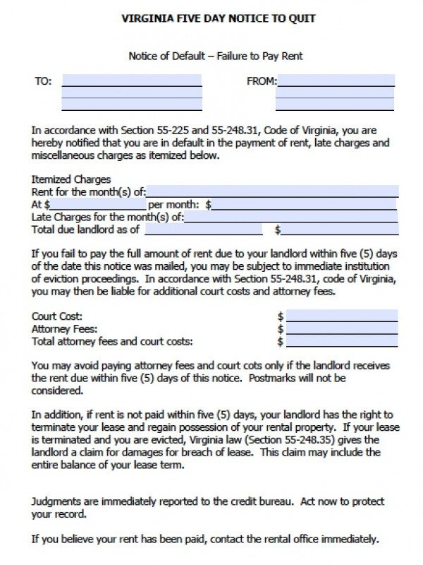 30 day eviction notice form virginia - Alannoscrapleftbehind