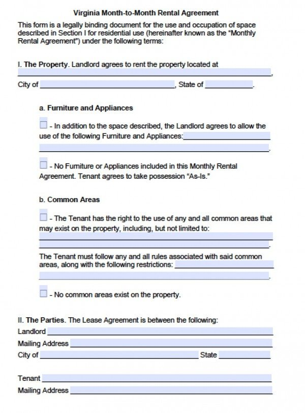 Free Virginia Month-to-Month Lease Agreement PDF Word (doc) - free tenant agreement