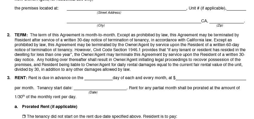 Free California Month-to-Month Rental Agreement PDF DOCX