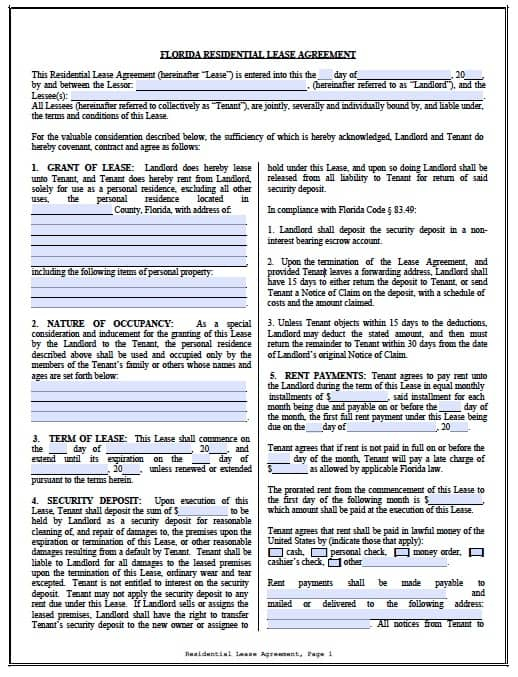 Lease Agreement Florida Commercial Resume Pdf Download