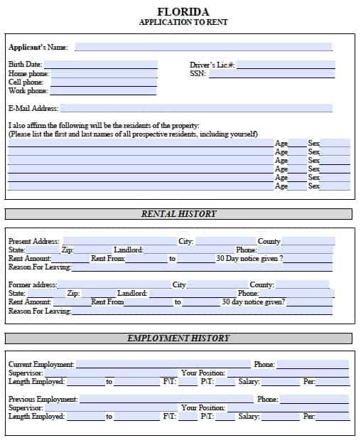Free Florida Rental Application u2013 PDF Template - rental application pdf