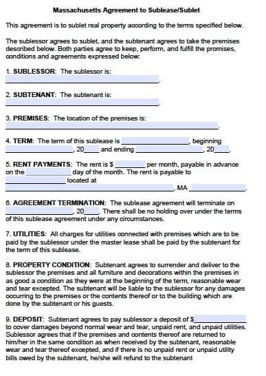Free Massachusetts Sublease Agreement Form \u2013 PDF Template - contract templates in pdf