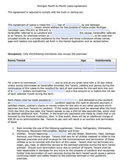 Free Michigan Month to Month Rental Agreement \u2013 PDF \u2013 Word - month to month lease agreements
