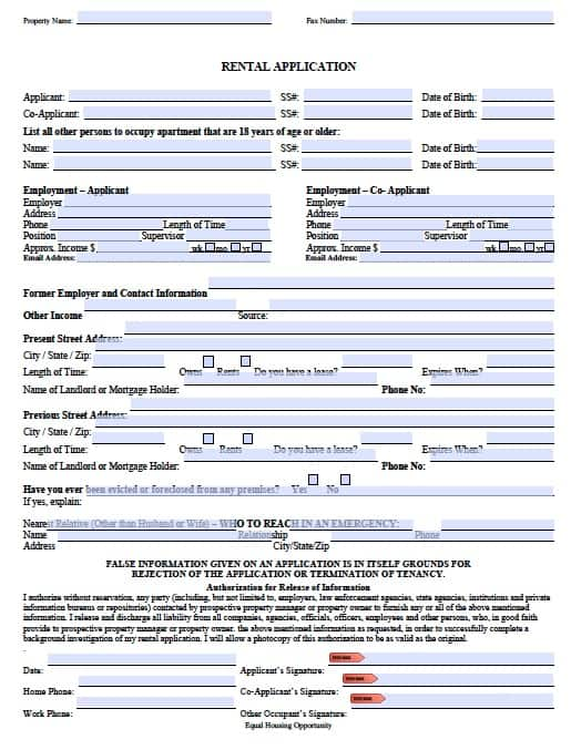 home rental application form free - Doritmercatodos - lease forms free print