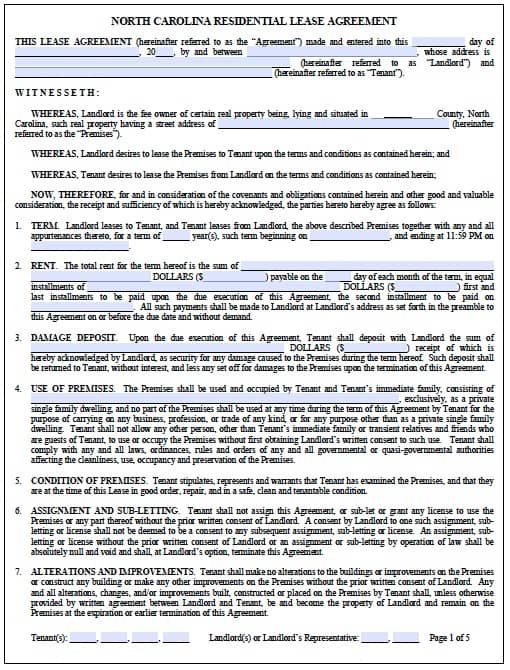 Free North Carolina Standard Residential Lease Agreement \u2013 PDF Template