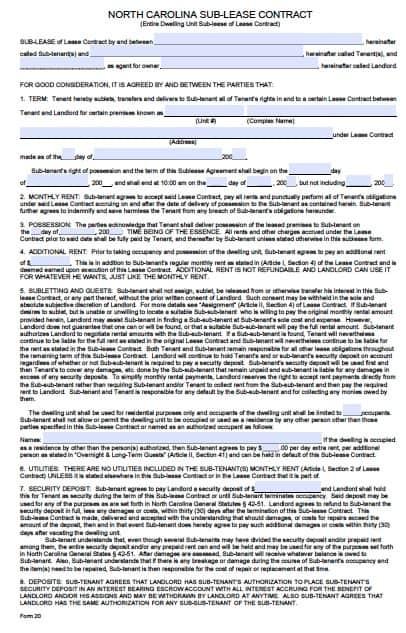 Free North Carolina Sublease Agreement Form \u2013 PDF Template
