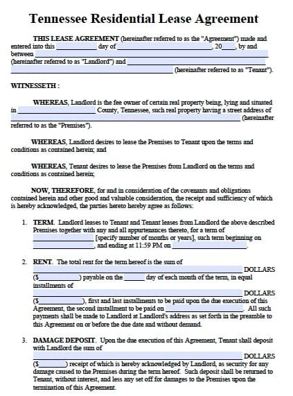 Free Tennessee Residential Lease Agreement Form \u2013 PDF Template