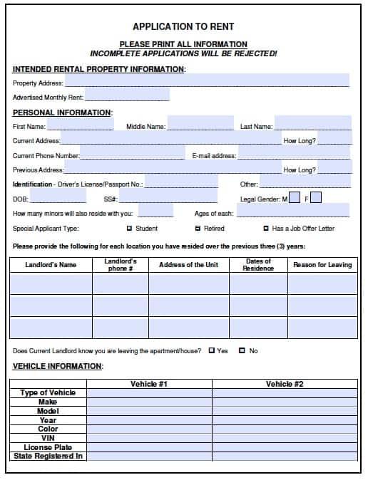 Free Vermont Rental Application Form \u2013 PDF Template - application form template free