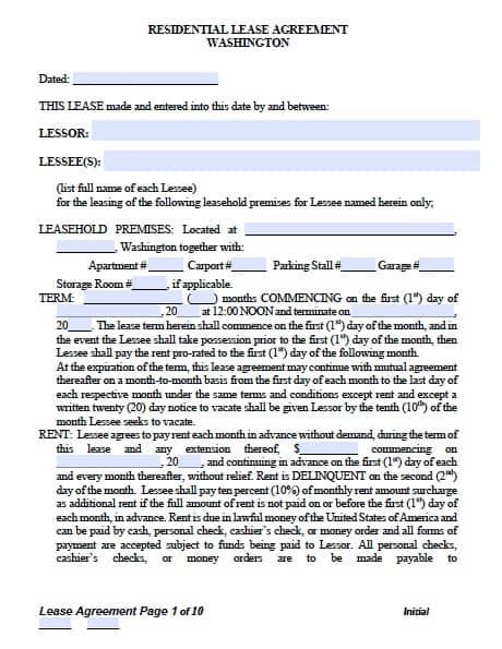 Free Washington Standard Residential Lease Agreement \u2013 PDF Template