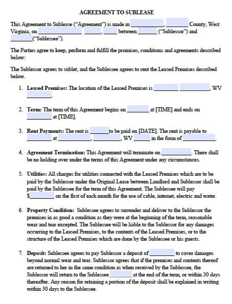 Free West Virginia Sublease Agreement \u2013 PDF Template